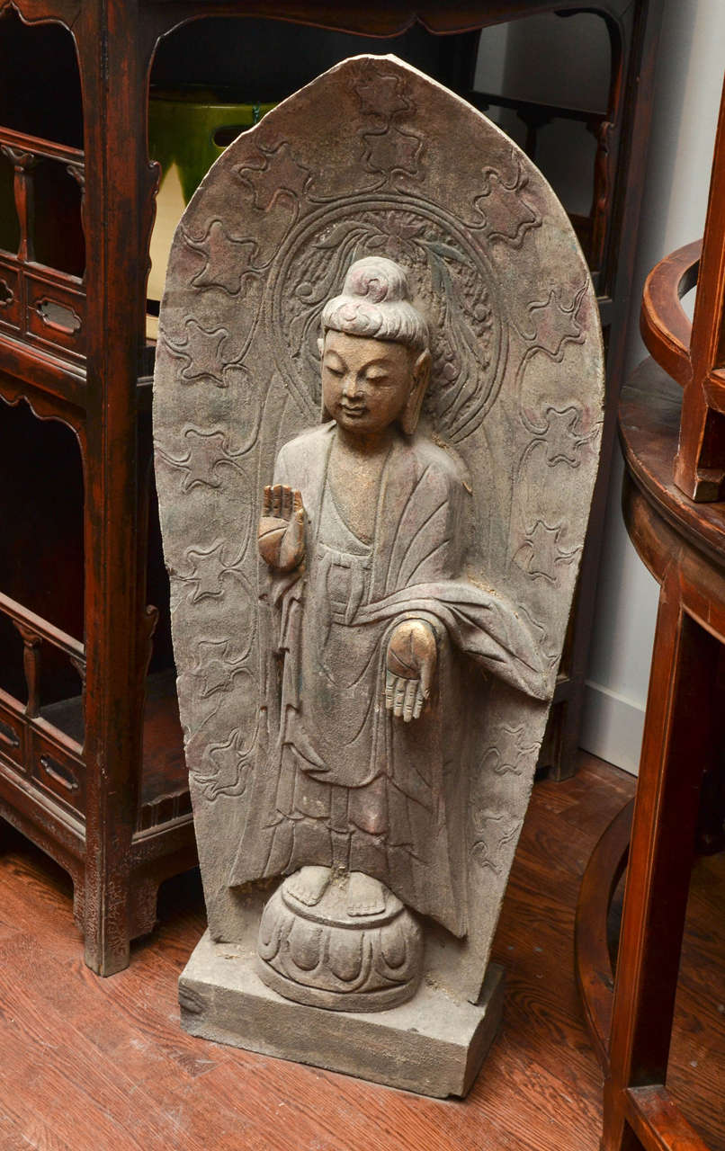 "Mid-Century Chinese Carved Limestone Garden Buddha ""Dispelling Fear"" 2"
