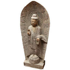 "Mid-Century Chinese Carved Limestone Garden Buddha ""Dispelling Fear"""