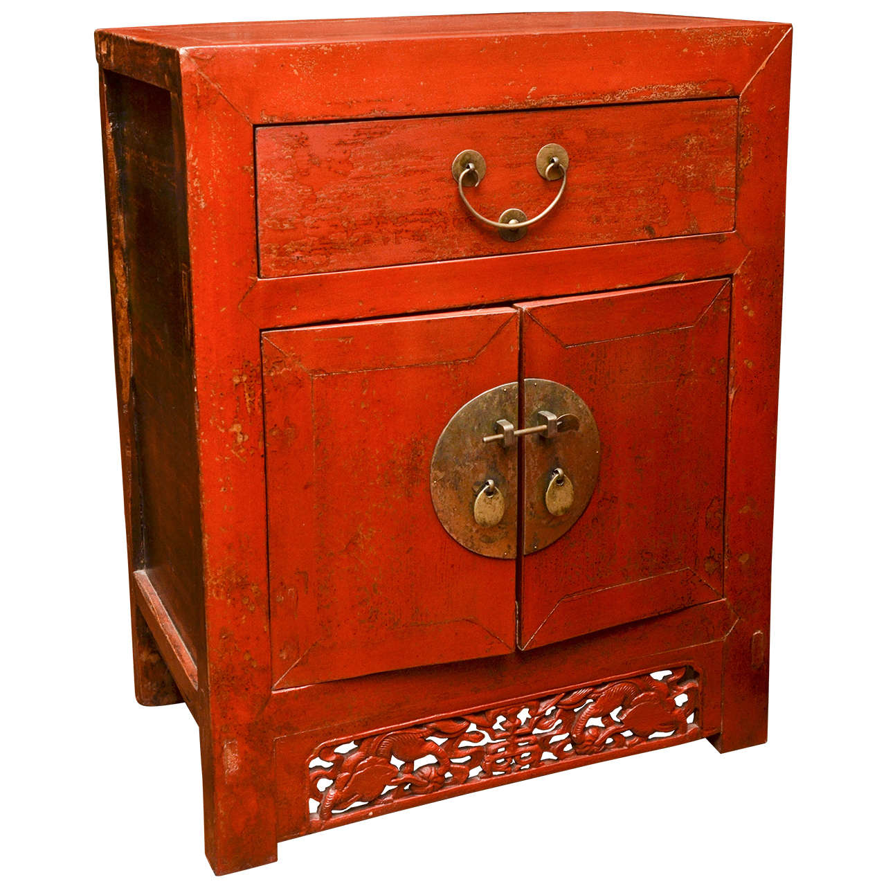 Late 19th Century Qing Dynasty Shanghai Red Lacquered Bedside Chest