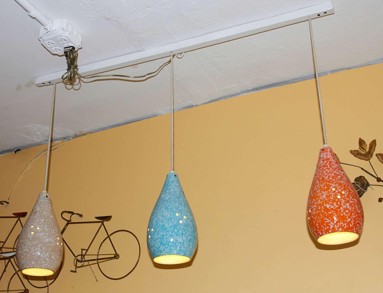 Set Of Three Colorful Glazed Ceramic Pendant Lights For