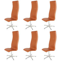 Six Model 3272 Oxford Chairs by Arne Jacobsen for Fritz Hansen, Denmark, 1960s