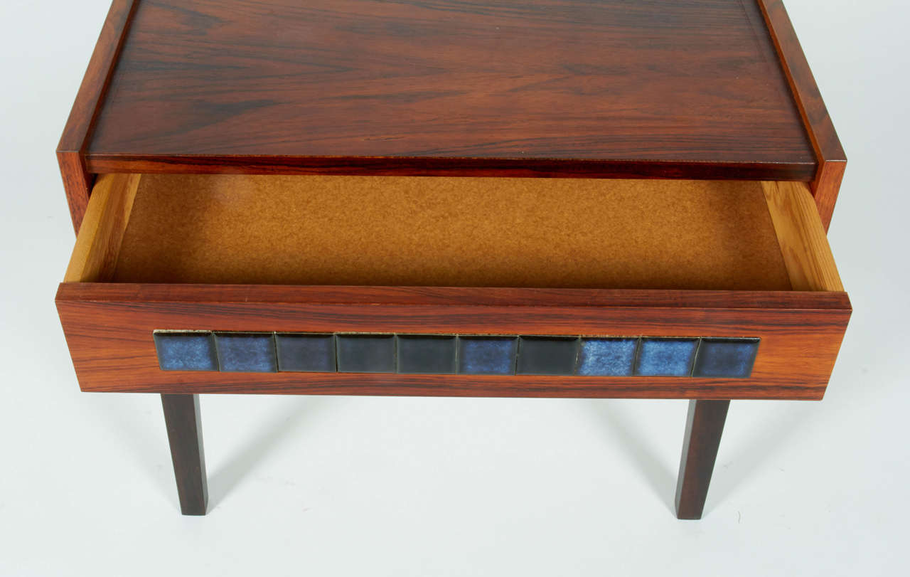 Scandinavian Modern Small Mid-Century Scandinavian Side Table with Tile Drawer, Denmark, 1960s For Sale
