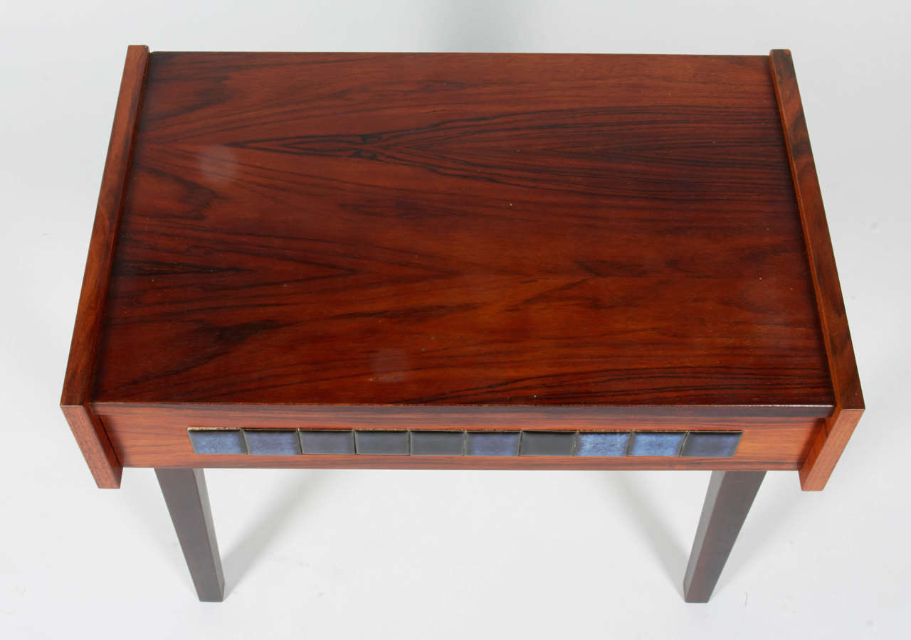 Danish Small Mid-Century Scandinavian Side Table with Tile Drawer, Denmark, 1960s For Sale