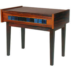 Small Mid-Century Scandinavian Side Table with Tile Drawer, Denmark, 1960s