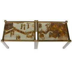 Pair of Etched Bronze Side Tables by Philip and Kelvin LaVerne, USA, 1960s