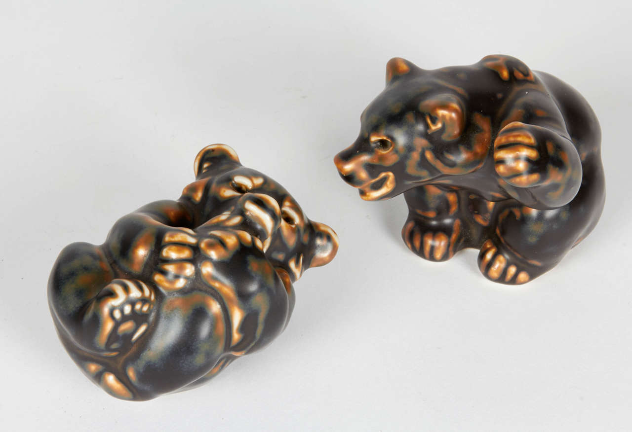 Bear Sculptures by Knud Kyhn for Royal Copenhagen In Excellent Condition For Sale In New York, NY