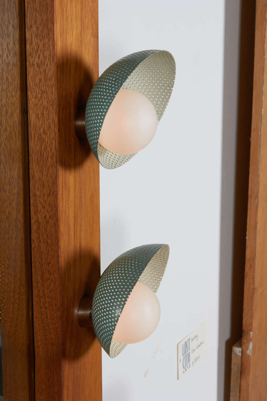 Mid-20th Century Custom Vanity with Perforated Metal Light Shades, Richard M. Wakamoto, 1957 For Sale