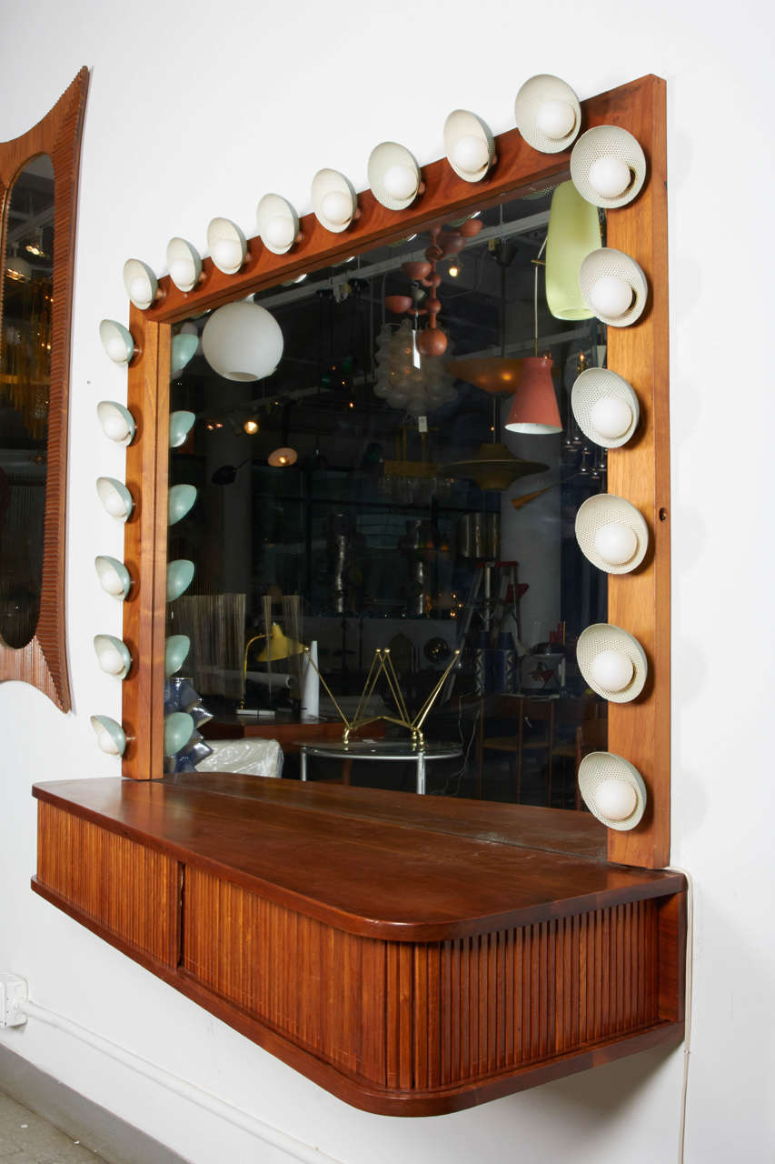 Custom Vanity with Perforated Metal Light Shades, Richard M. Wakamoto, 1957 For Sale 2
