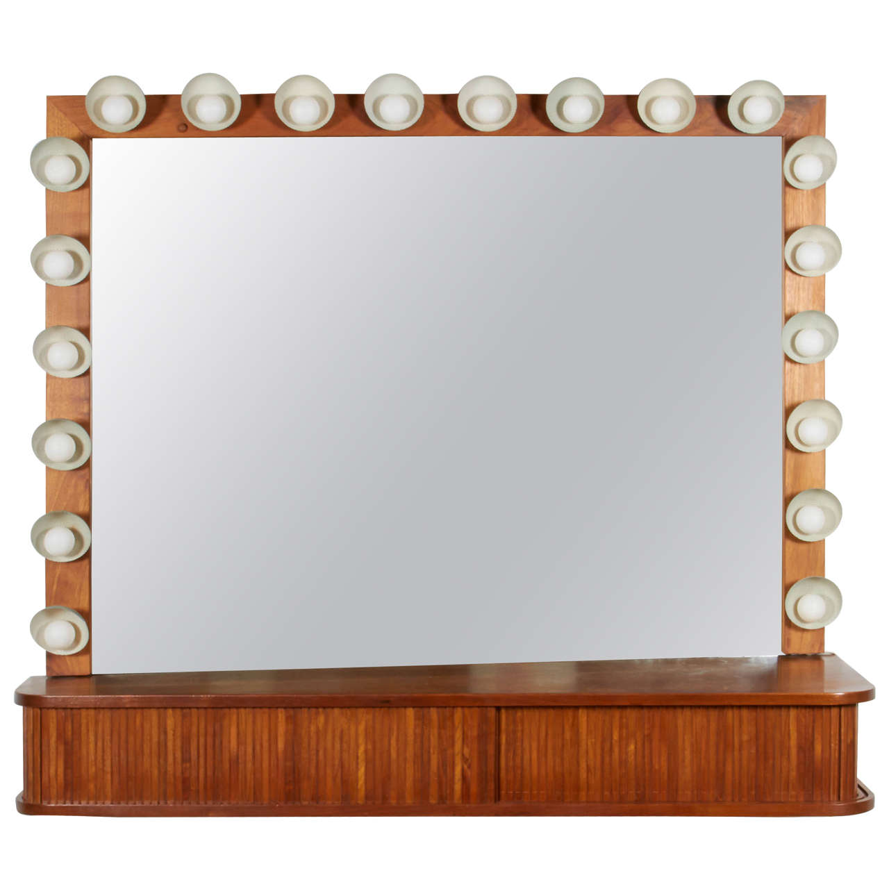 Custom Vanity with Perforated Metal Light Shades, Richard M. Wakamoto, 1957 For Sale