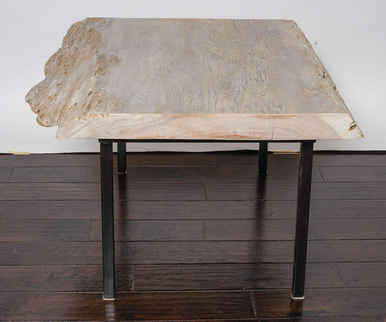 Elegant Pecky Cypress Coffee Table With Iron Legs 3