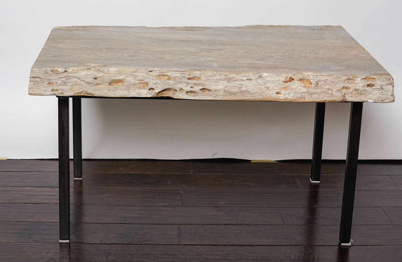 Pecky Cypress Coffee Table With Iron Legs