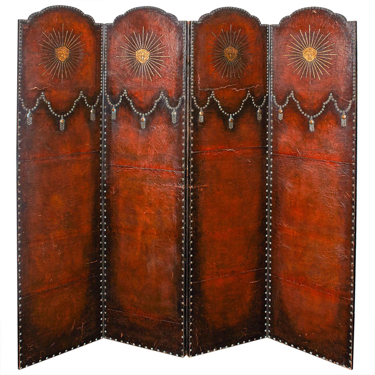 19th Century European Brown Leather Screen