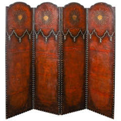 19th Century European Brown Leather Screen