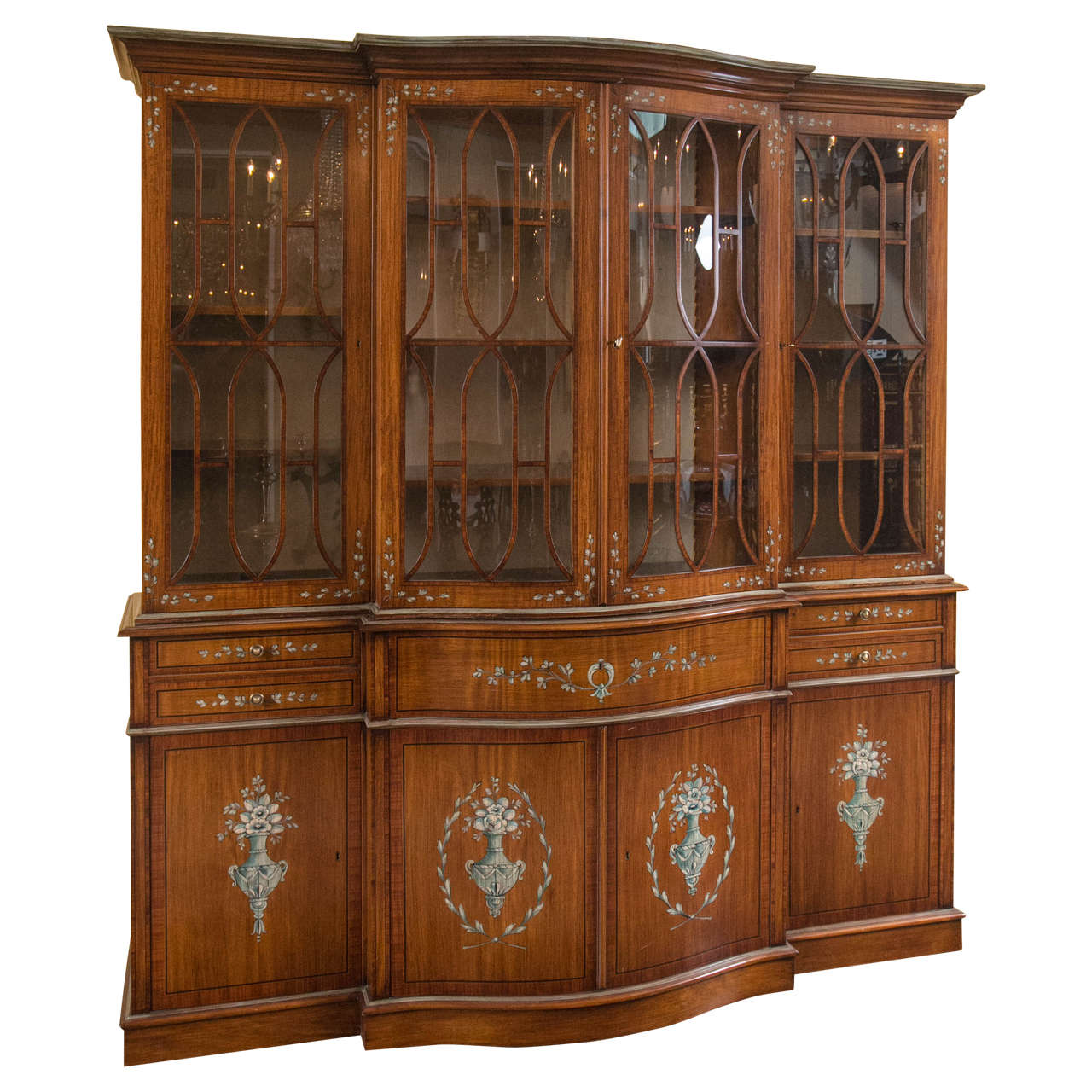English Adams Style Painted Mahogany And Satinwood Breakfront With Butler 39 S Desk For Sale At 1stdibs