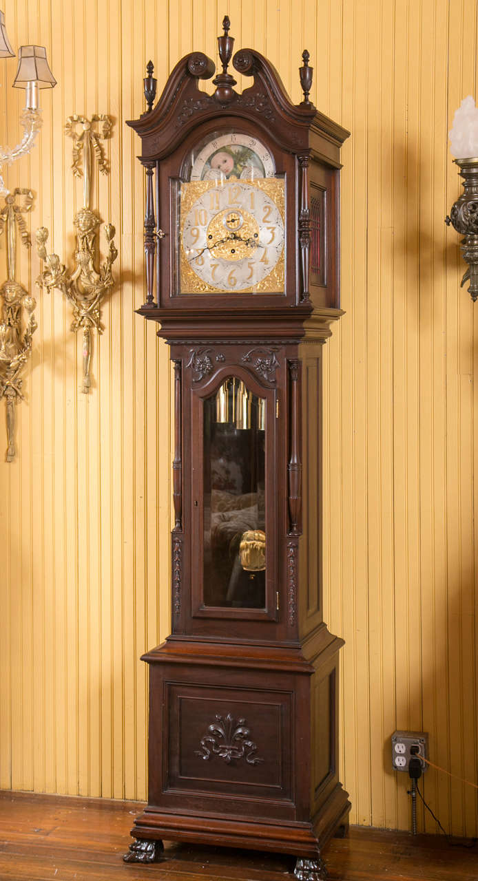 Carved Mahogany Westminster Chime Grandfather Clock J E