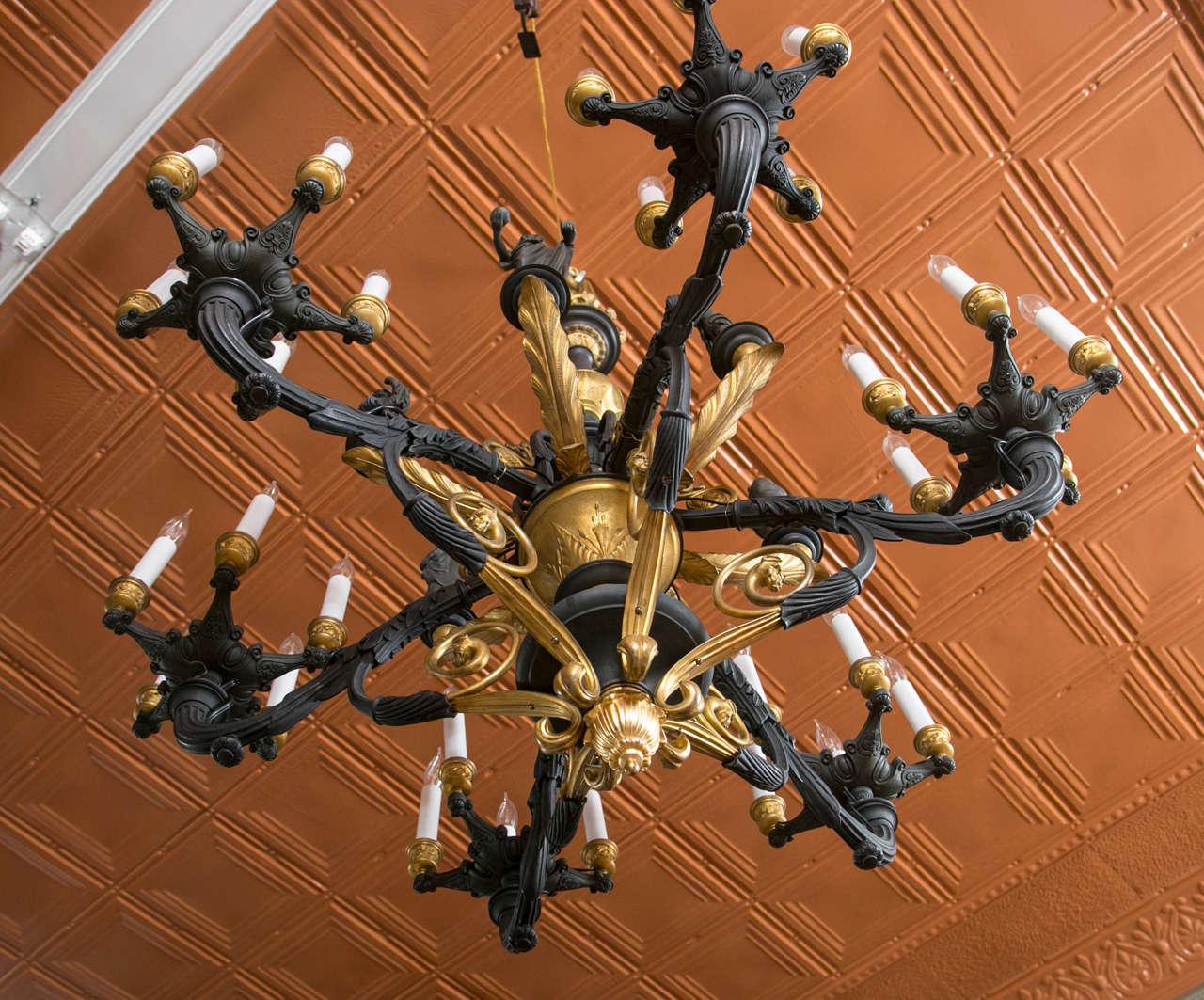 Large parcel gilt bronze gaslight chandelier with greco roman european large parcel gilt bronze gaslight chandelier with greco roman figures for sale aloadofball Choice Image