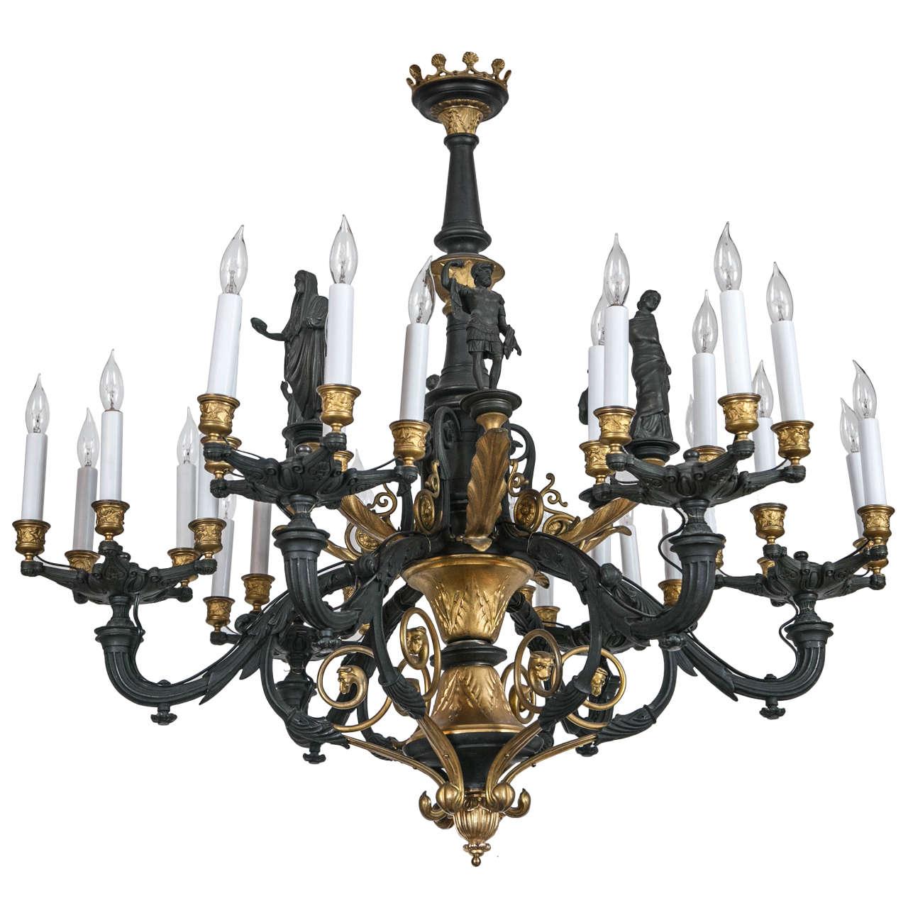 Large parcel gilt bronze gaslight chandelier with greco roman large parcel gilt bronze gaslight chandelier with greco roman figures 1 arubaitofo Images