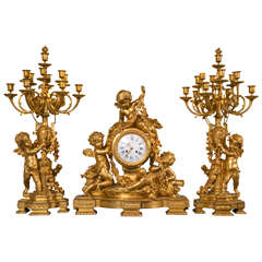 Doré Bronze Three-Piece Clock Set with Cherubs by Charpentier & Cie