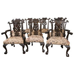 Set of Ten 19th Cent.Chippendale Style Carved Mahogany Dining Chairs