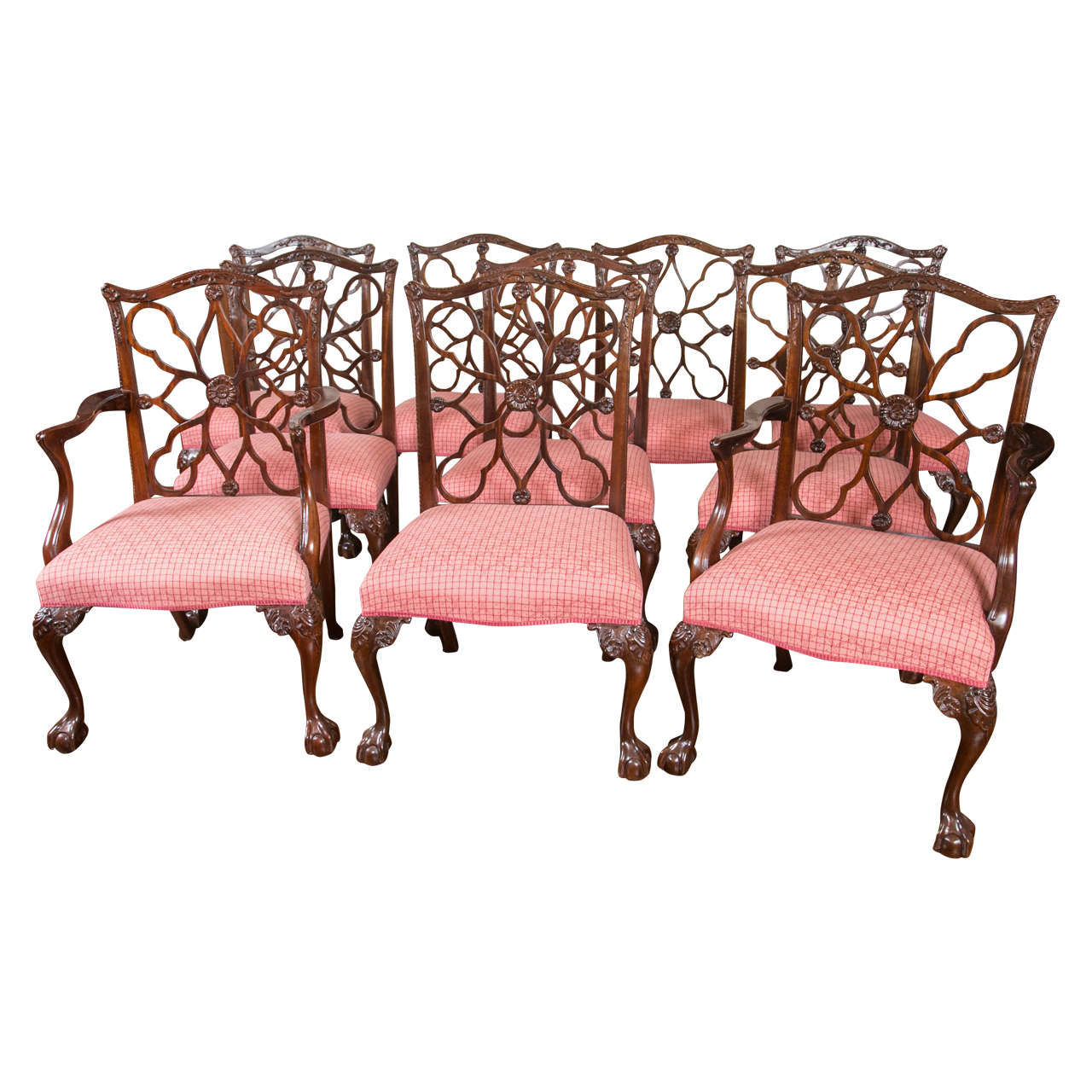 Set Of Ten Chippendale Style Carved Mahogany Wheel Back Dining Chairs 1