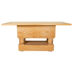 Mid-Century Modern Limed Oak Console Table in the Style of Paul Dupré-Lafon