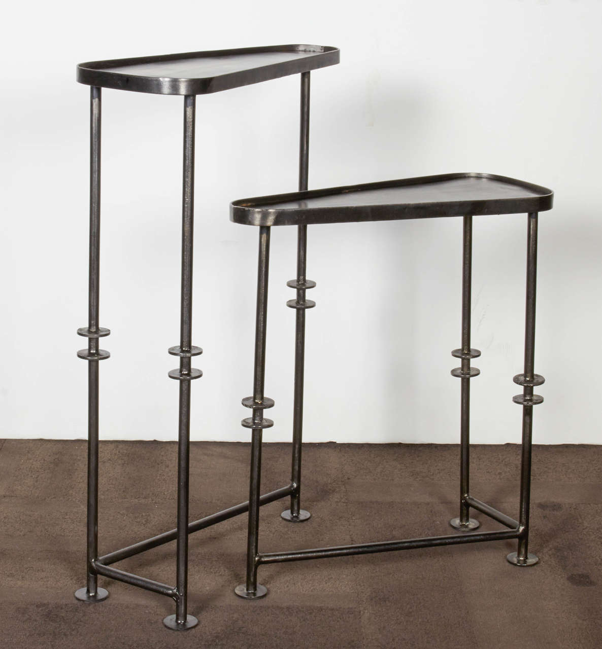 Industrial Nesting Tables And Side Tables In Burnished Metal Image 2. Full resolution‎  image, nominally Width 1186 Height 1280 pixels, image with #604E42.