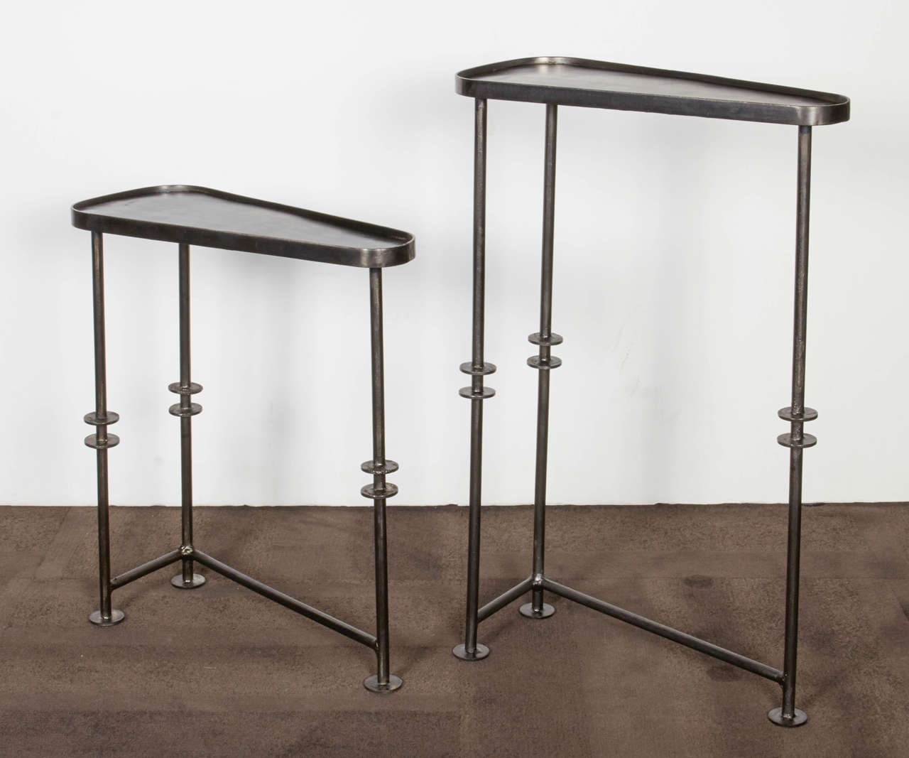 Industrial Nesting Tables And Side Tables In Burnished Metal Image 4. Full resolution‎  image, nominally Width 1280 Height 1067 pixels, image with #614E43.