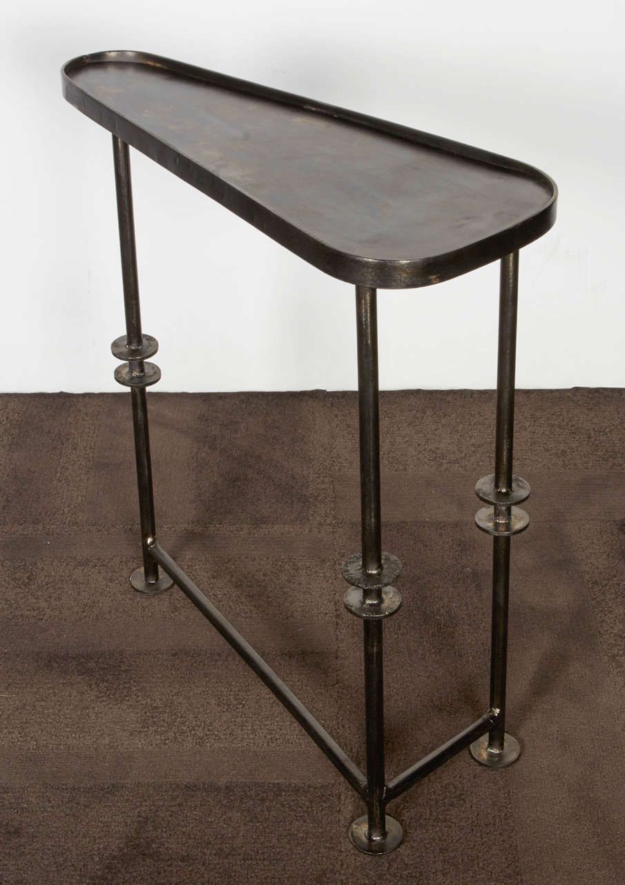 Industrial nesting tables and side in burnished