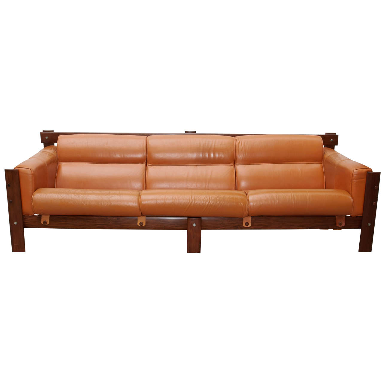 mid century sofa in cognac leather and rosewood designed. Black Bedroom Furniture Sets. Home Design Ideas