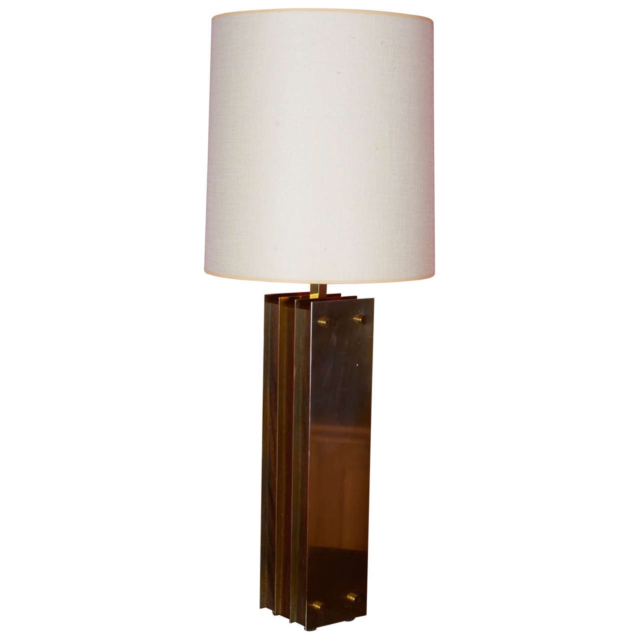 Laurel I Beam Table Lamps with Wood and Brass, 1950s