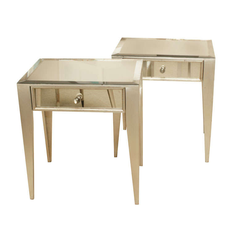 Pair of Mirrored 1-Drawer Nite Stands
