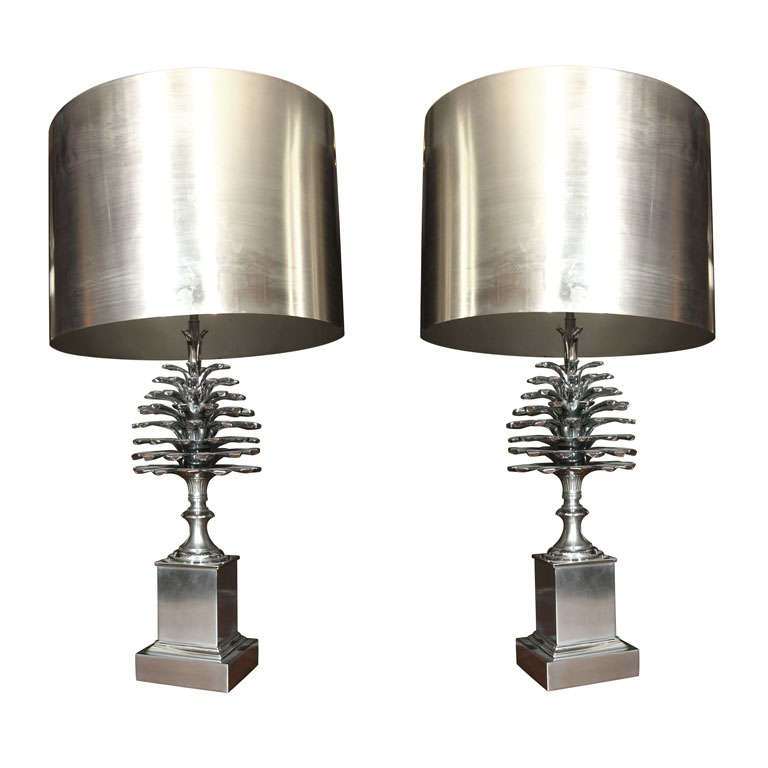 Pair of Maison Charles Nickel Plated Bronze Table Lamps