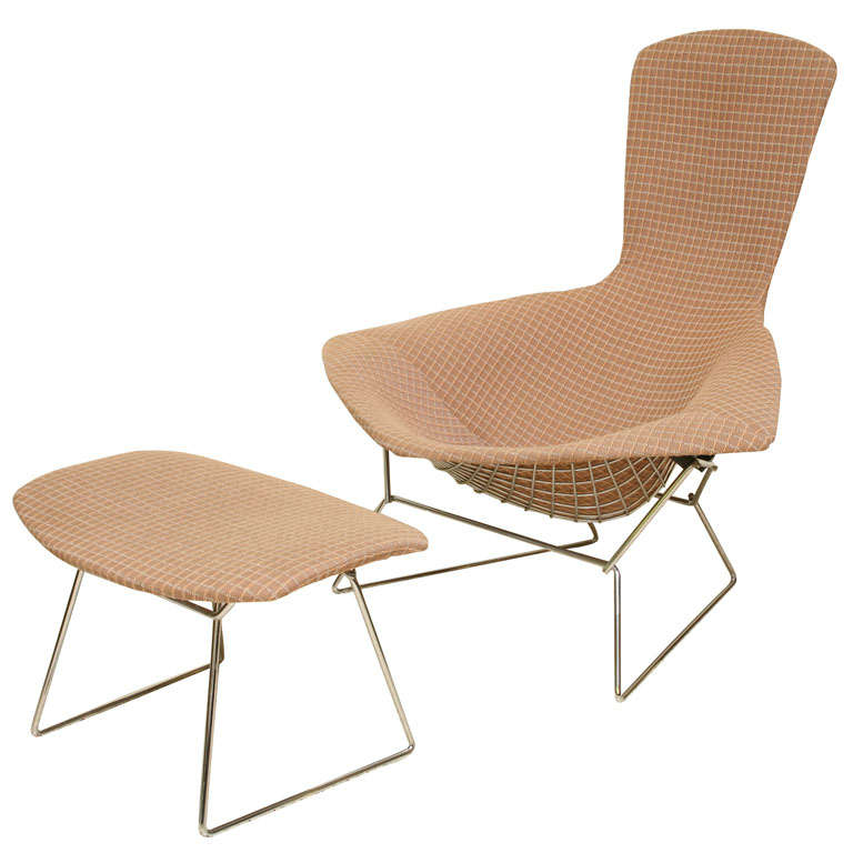 Iconic harry bertoia chrome bird chair and ottoman for Iconic chair and ottoman