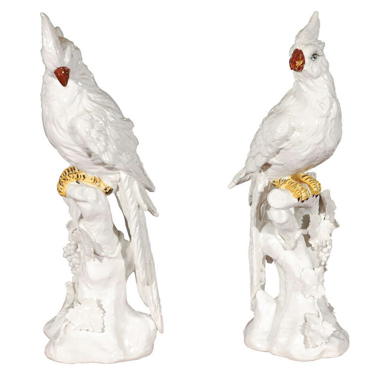 Pair of  Regency Italian Ceramic Cockatoos