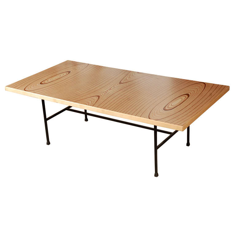 Laminated Plywood and Iron Low Table by Tapio Wirkkala
