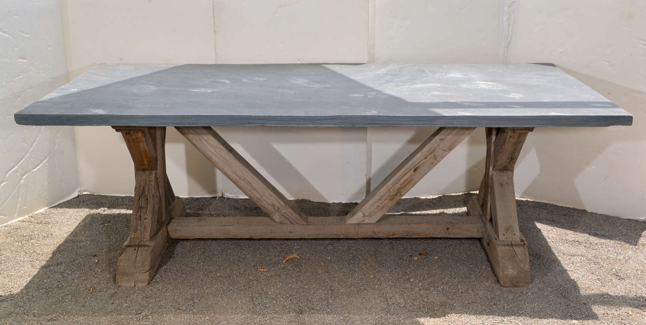 Blue Stone Top Dining Table Made From Reclaimed Pine 2