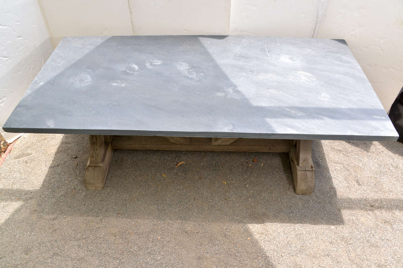 Blue Stone Top Dining Table Made From Reclaimed Pine At