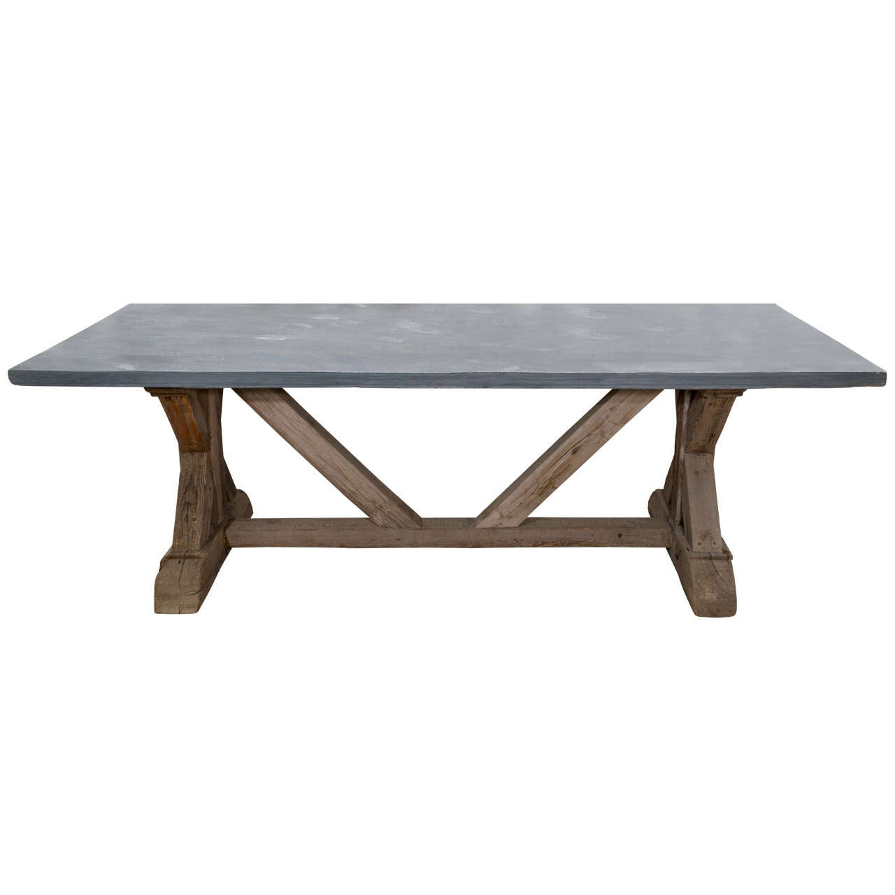 Blue stone top dining table made from reclaimed pine at for Stone dining table