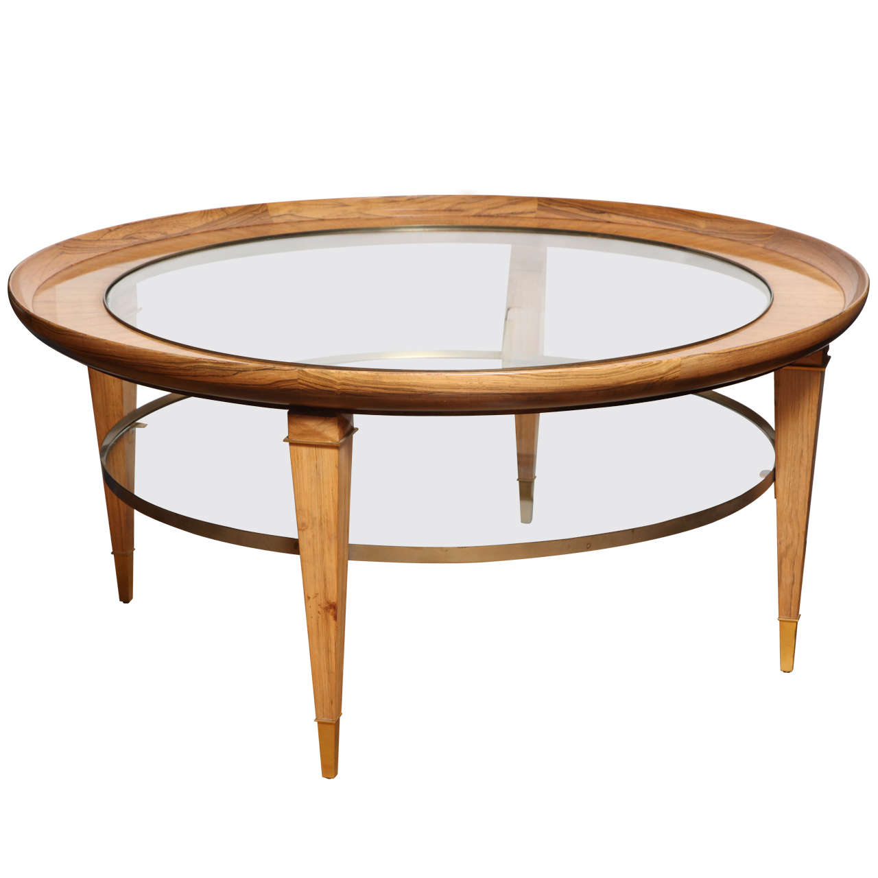 a round two tiered rosewood coffee table with glass top at With two tier round coffee table
