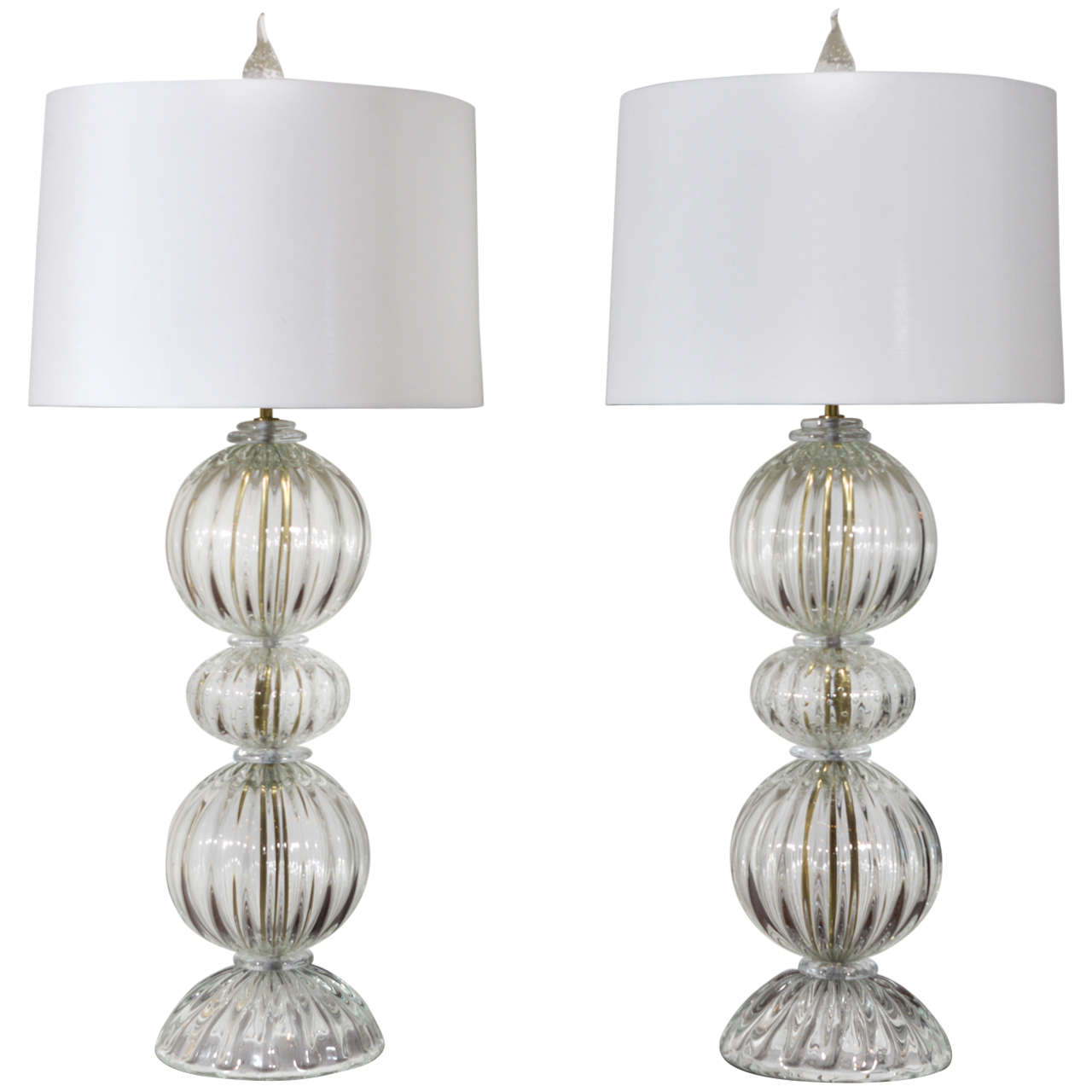 Pair of Clear Murano Glass Lamps by Barovier