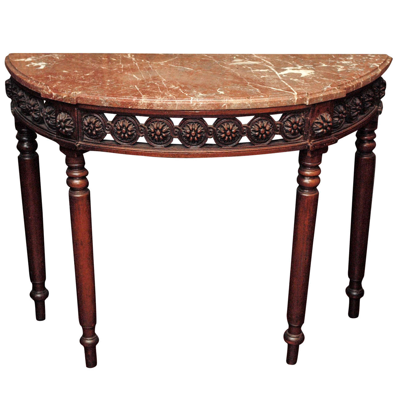 louis xvi demi lune marble topped console table at 1stdibs. Black Bedroom Furniture Sets. Home Design Ideas