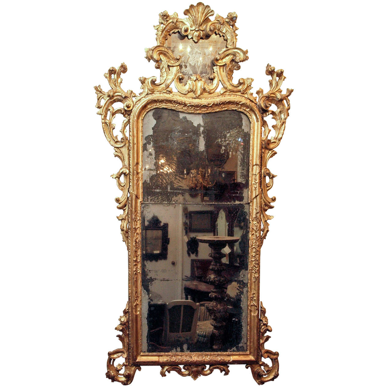 Baroque venetian gilt wood looking glass for sale at 1stdibs for Baroque mirror