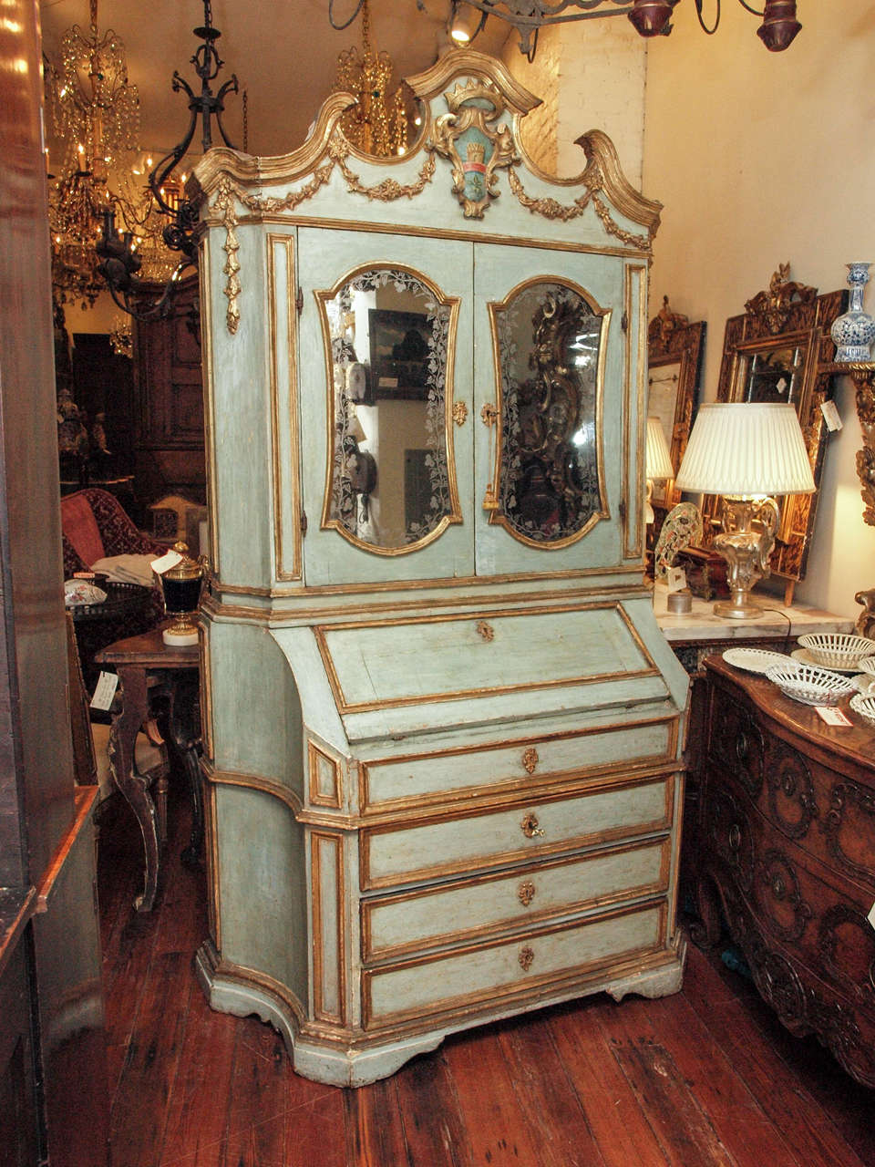 18th c Paint and Parcel Gilt Mirrored Door Secretary Bookcase 2