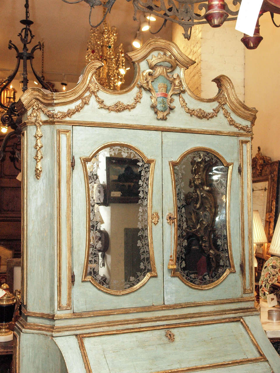 18th c Paint and Parcel Gilt Mirrored Door Secretary Bookcase 3