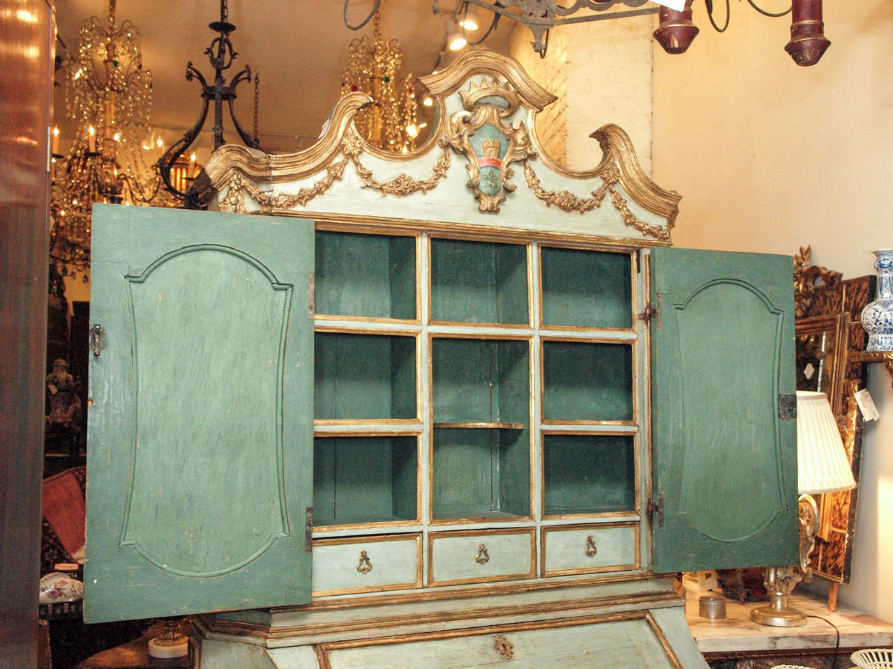 18th c Paint and Parcel Gilt Mirrored Door Secretary Bookcase 4