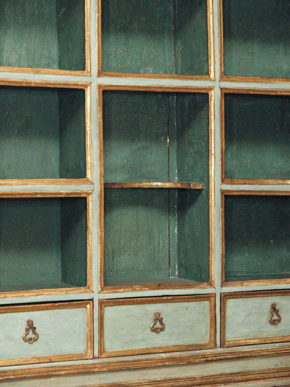 18th c Paint and Parcel Gilt Mirrored Door Secretary Bookcase 5