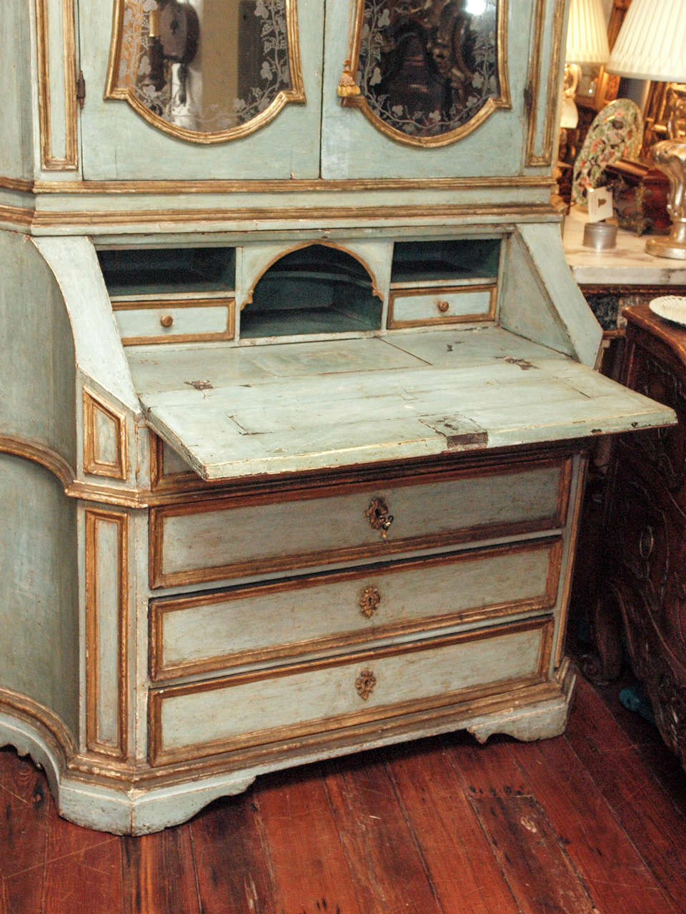 18th c Paint and Parcel Gilt Mirrored Door Secretary Bookcase 6