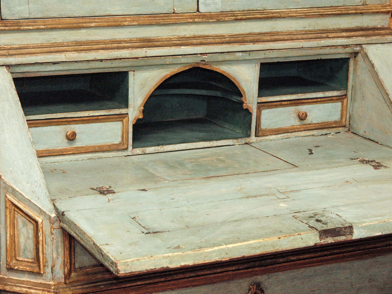 18th c Paint and Parcel Gilt Mirrored Door Secretary Bookcase 7