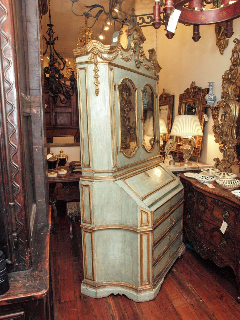 18th c Paint and Parcel Gilt Mirrored Door Secretary Bookcase 10