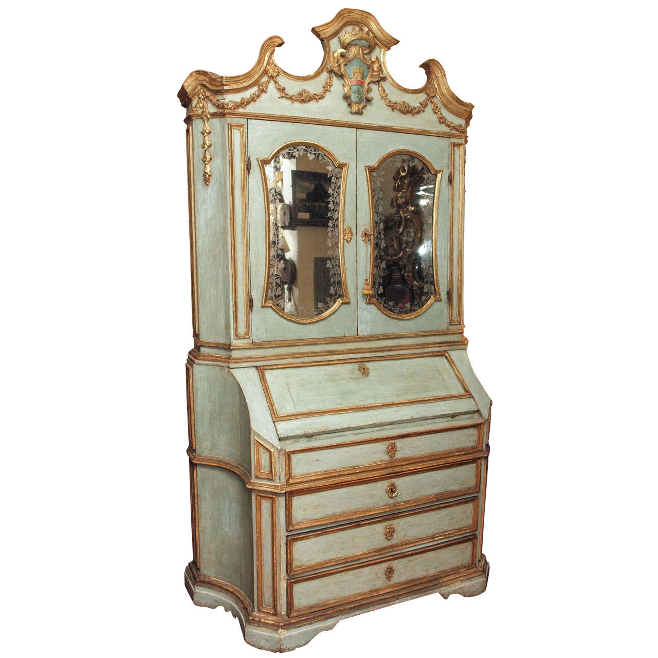 18th c Paint and Parcel Gilt Mirrored Door Secretary Bookcase 1